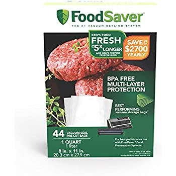 Amazon.com: FoodSaver 1-Gallon Precut Vacuum Seal Bags with ...