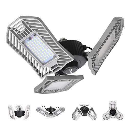 LED Garage Lights, 80W Deformable LED Garage Ceiling Lights 8000 Lumens, CRI 80 Led Shop Lights for Garage, Garage Lights with 3 Three Leaf, Utility Led Garage Lighting (No Motion Activated)