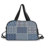iPrint Travel handbag,Arabian,Arabesque Islamic Motifs with Geometric Lines Asian Ethnic Muslim Ottoman Element,Blue White ,Personalized