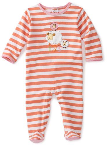 ABSORBA Baby-Girls Newborn Tender Touch Striped Footie