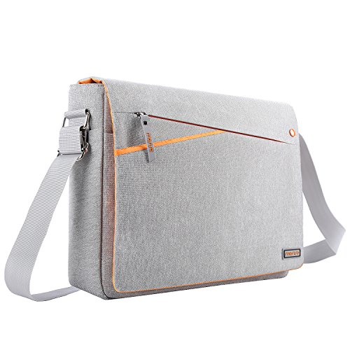 MOSISO Laptop Shoulder Bag Compatible 13-13.3 Inch MacBook Pro, MacBook Air, Notebook Computer with Two Side Pockets Storage, Protective Spill-Resistant Polyester Carrying Case Cover, Gray and Orange by MOSISO