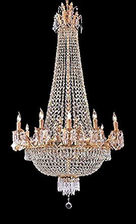 French Empire Gold Crystal Chandelier Chandeliers Lighting W 25 H52 12 Lights – Great for The Dining Room, Foyer, Entry Way, Living Room