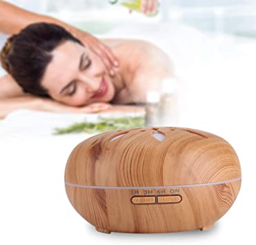 Humidificador de aire LED, 550 ml de madera Aroma difusor de ...