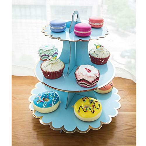 Collapsible 3-tier Cardboard Party Cupcake Display Stand/Dessert Stand/Tea Party Pastry Serving Platter/Food Display Stand-Gilt Blue