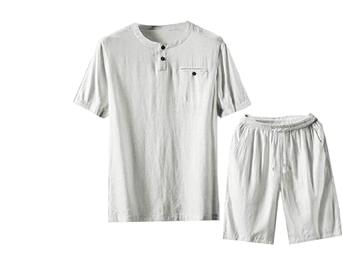 1904ac1b71 RDHOPE-Men Big and Tall Half Pants Linen Short Sleve 2 Piece Set Tunic Shirt  at Amazon Men s Clothing store