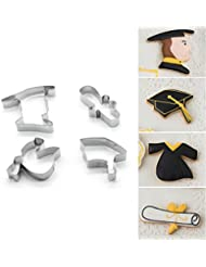 ZJCilected Set of 4 Pieces Stainless Steel Graduation Cookie Cutter-Boy, Cap, Gown, Diploma Cookie Cutter