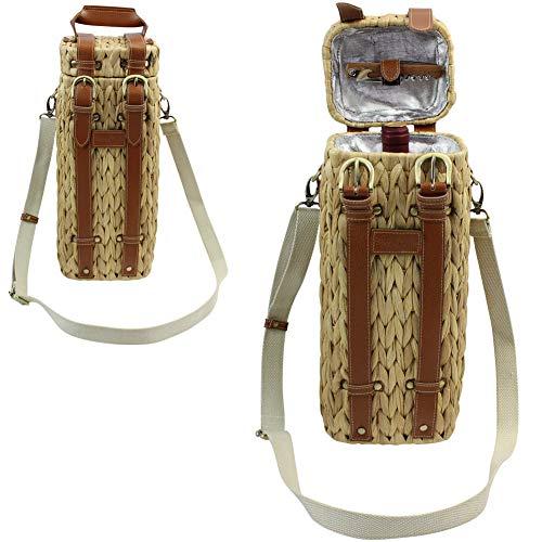 HappyPicnic Seagrass Wine Basket Cooler for 1 Bottle, Picnic Wine Holder for Single Bottle with Shoulder Strap - Unique Gift for Mother Day