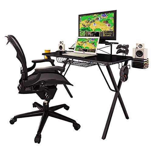 Atlantic Gaming Original Gaming-Desk Pro - Curved-Front, 10 Games, Controller, Headphone & Speaker Storage, 40.25x23.5 Curved Front Desktop, Enhanced larger Design