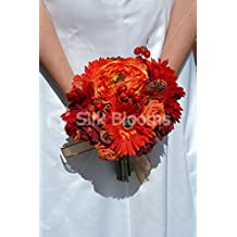 Autumn Bride Red & Orange Gerbera & Roses Bridal Wedding Bouquet