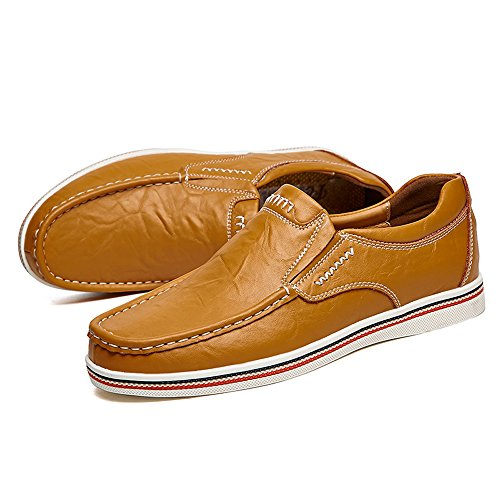 EnllerviiD Men Moc Toe Slip On Leather Loafers Casual Driver Shoes Fashion Boat Work Shoes 2389 Brown yvhMY9Rrn