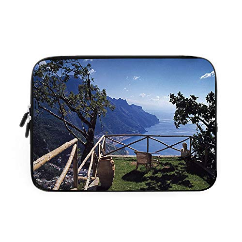 (Country Decor Laptop Sleeve Bag,Neoprene Sleeve Case/Mediterranean Scenic View Mountain Cliffs Sea Coast Travel Destination/for Apple MacBook Air Samsung Google Acer HP DELL Lenovo AsusBlue G)