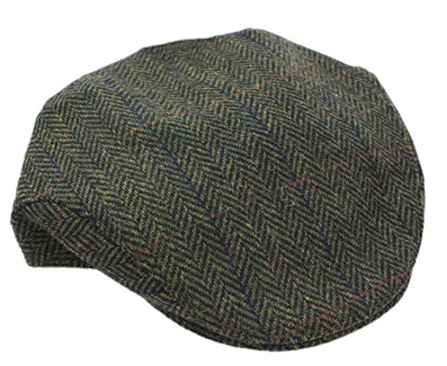 Mucros Flat Irish Hat Men's Green Herringbone Made in Ireland Medium