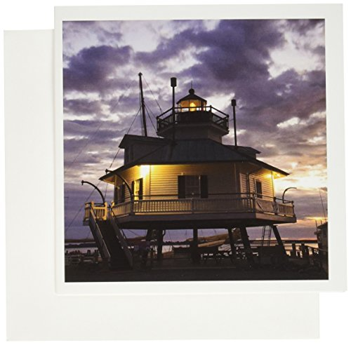 3dRose Chesapeake Bay, Hooper Straight Lighthouse - US21 WBI0063 - Walter Bibikow - Greeting Cards, 6 x 6 inches, set of 12 (gc_90805_2)