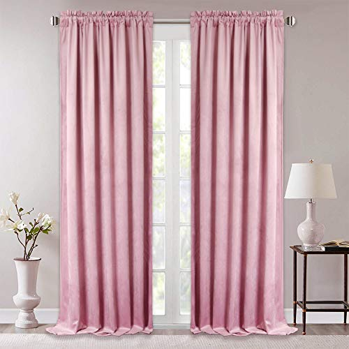 StangH Daughters Room Pink Velvet Drapes - Skin-Smooth Velvet Room Darkening Curtains Heat Reducing Window Dressing for Princess Room Romantic Home Decor, 52