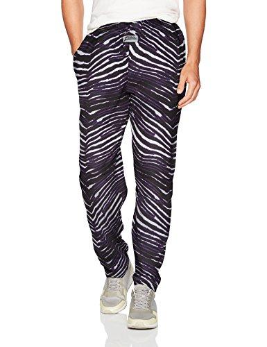 Zubaz Men's Standard Classic Zebra Printed Athletic Lounge Pants, Black/Purple, -