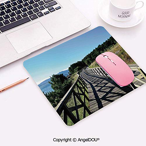 Mouse Pad Non-Slip Rubber Base Wrist Rest Pad Wooden Pathway by Sea Bridge Placid Quiet Alone Time Plants Tree Healing Print for Home Office Easy Typing Pain Relief