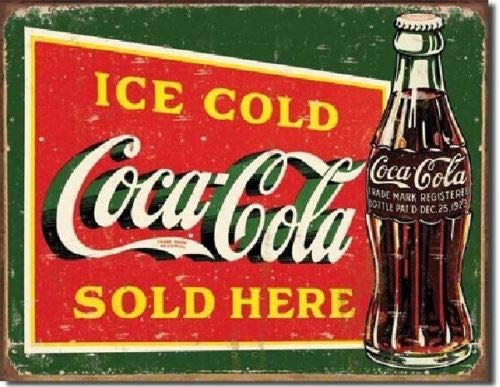 ShopForAllYou Vintage Decor Signs Ice Cold Coca Cola Sold Here TIN Sign Metal Coke Poster Vintage Diner Decor 1393