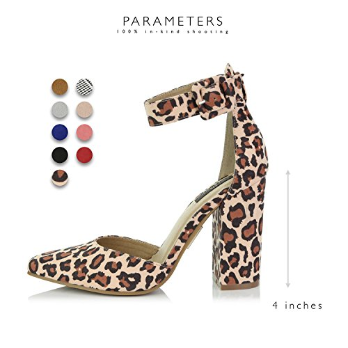 4bc2ba44cf3 DailyShoes Women s Fashion Pointed Toe Chunky Ankle Strap Buckle High Heels  Shoes