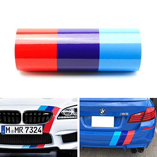 iJDMTOY (1) 12″ Wide M-Colored Stripe Decal Sticker For BMW Exterior Cosmetic, Such As Hood/Bonnet, Front/Rear Bumpers, Fenders, Side Skirts, Roof, etc