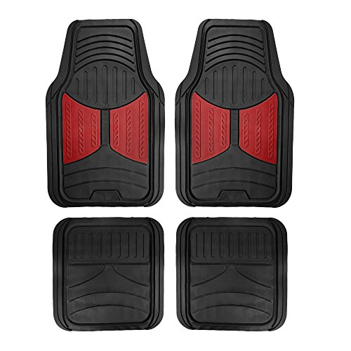 FH Group F11313BURGUNDY Burgundy Rubber Floor Full Set Trim to Fit Mats