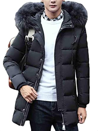 dcce3673ba0 Hilization Men Winter Faux Fur Collar Thermal Hooded Middle Length Coat  Down Puffer Jacket at Amazon Men's Clothing store: