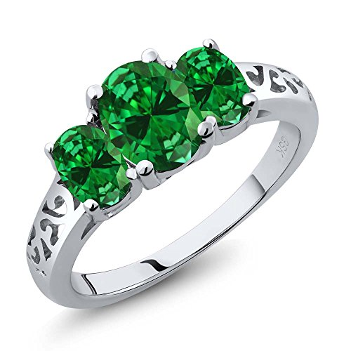Oval Emerald 3 Stone Ring - 1