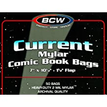 (50) Current Age Archival Mylar 2 Mil Polyester Comic Book Bags By BCW