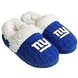 FOCO NFL New York Giants Team Color Fur Moccasin Slippers Shoe, Team Color, Medium (7-8)