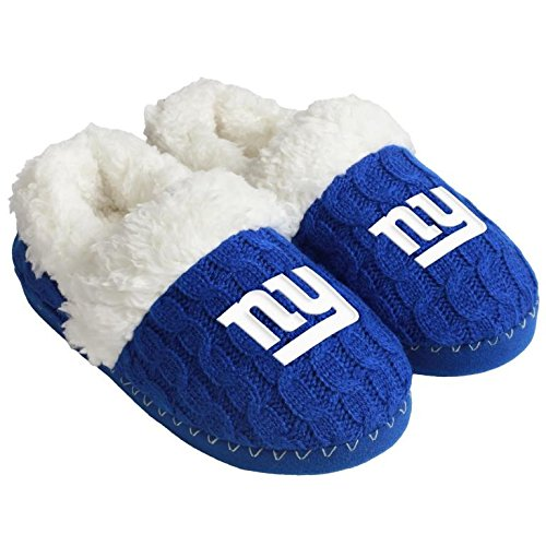 New York Giants House (NFL Football Womens Team Logo Fur Moccasin Slippers Shoe - Pick Team (New York Giants, Medium))