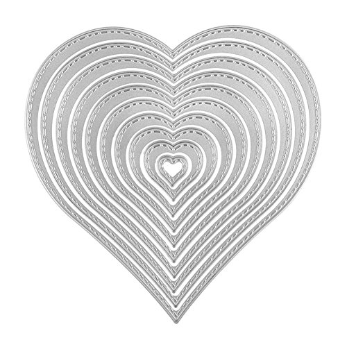 Bluelans Cutting Dies Stencil Metal Mould Template for DIY Scrapbook Album Paper Card Craft (12pcs Heart Cutting Dies)