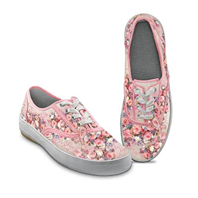 Lena Liu Breast Cancer Support Canvas Art Women's Sneakers: Steps Toward A Cure by The Bradford Exchange