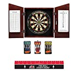 Game Room Guys Angular English Tudor Steel Tip Dart Board Cabinet Package