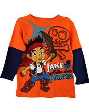 Jake and the Neverland Toddler Boys Shirt Screenprint Orange Tee