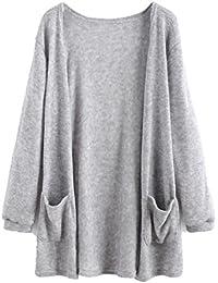 Women's Fuzzy Cardigan Elastic Cuff Sweater With Pockets