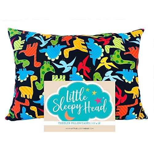 Little Sleepy Head Toddler Pillowcase 13x18-100% Cotton & Hypoallergenic - Dinosaurs
