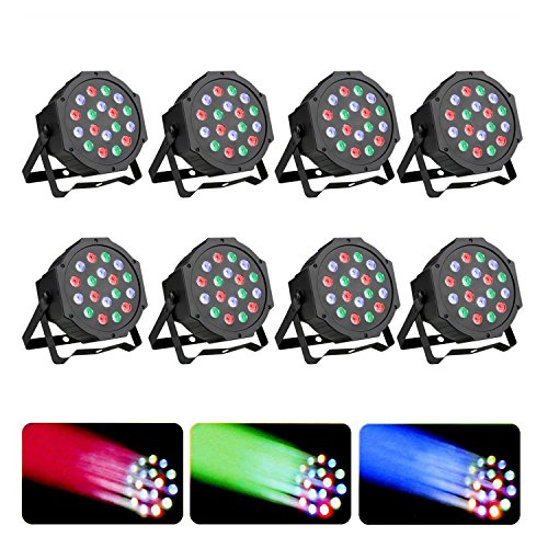 Z-bond 8PCS Par LED Stage Light 18 X 3W LED DJ Par Lights 54W RGB PAR64 DMX512 For Stage Party Show (8PCS) by Z-bond