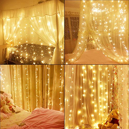 slashome Window Curtain Lights,29V 600 LED 19.8X9.8 feet with 8 Lighting Modes Christmas String Fairy Lights for Wedding, Home, Garden, Party, Festival, Holiday Decor.(Warm White) from slashome