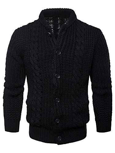 Coutgo Mens Cable Knit Mock Neck Cardigan Style Wool Sweater Pullover by Coutgo