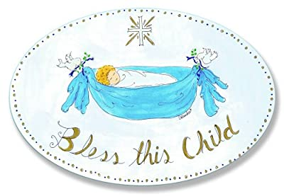 The Kids Room Bless This Child With Cross Boys Oval Wall Plaque by Stupell Industries