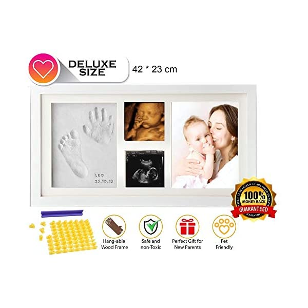 BABY HAND and FOOTPRINT Keepsake KIT & Ultrasound Picture Frame, %100 Non Toxic Clay Baby Shower Handprint Gift- with Silicone Alphabet Mold / Stamp Name and Birthday Your Baby