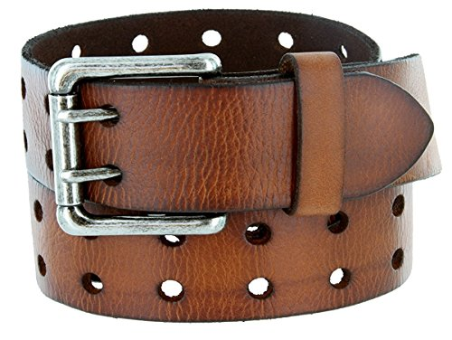 - Pele Belt Men 2 Hole Rows Old Look Wrinkled Leather Antique Twin Prong Buckle,Brown 36
