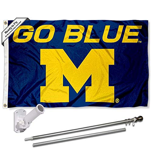 Michigan Wolverines Go Blue Flag with Pole and Bracket Kit