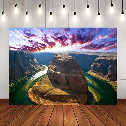 (Horseshoe Bend Colorado River Arizona Canyon Photography Backdrop for Party, 9x6FT, Travel Nature Outdoor Climbing Banner Background, Photo Booth Studio Props)