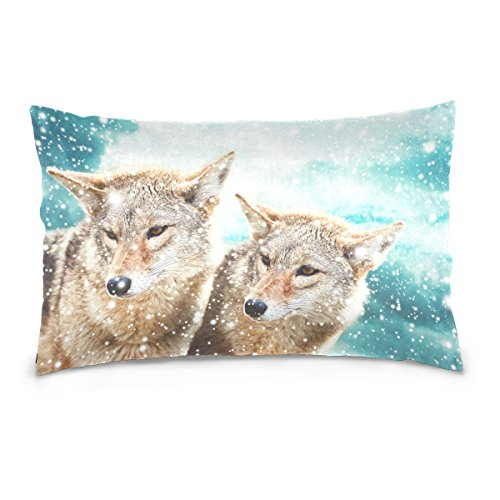 (Top Carpenter Coyote Against Blue Winter Sky Velvet Oblong Lumbar Plush Throw Pillow Cover/Shams Cushion Case - 20x26in - Decorative Invisible Zipper Design for Couch Sofa Pillowcase Only)