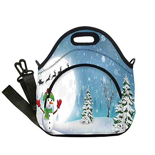 Christmas Decorations Lightweight Neoprene Lunch Bag,Jolly Snowman under Full Moon Waving to Santa Reindeer Sleigh Kids for Kids Nurse Teacher Outdoor,With Pocket(12.6''L x 6.3''W x ()
