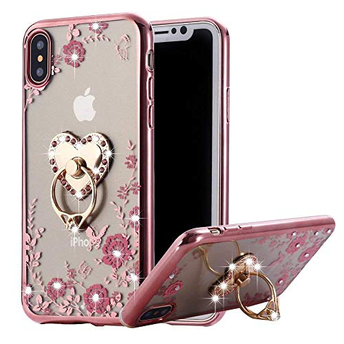 iPhone XR Case Pink Ring, Miniko Soft Slim Bling Rhinestone Floral Crystal TPU Plating Rubber Case Cover with Detachable 360 Diamond Finger Ring Holder Stand for iPhone XR 6.1 inch