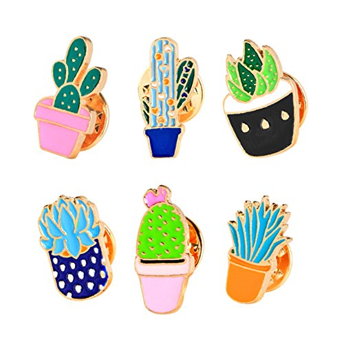 Women Children Cute Cactus Lotus Flower Grass Aloe Vera Potted Badge Corsage Collar Brooch Label Pin (#2)