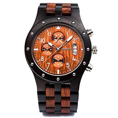Bewell W109D Men's Wooden Watch Quartz Movement Date Display Luminous Sports Wristwatch