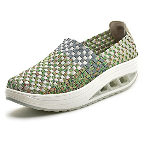 SUDILO Womens Ultra Lightweight Multicolor Woven Fashion Sneakers Casual Breathable Slip-on Shoes