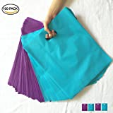 SES.CO 12x15 Purple and Teal Blue Merchandise Bags Plastic Retail Bags (100 Pack)